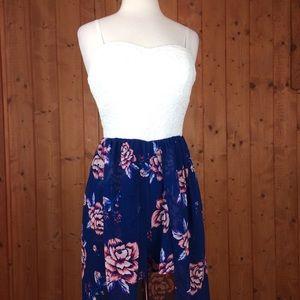 Lilly Rose Hi Low Mini Shorts Floral Maxi Dress L
